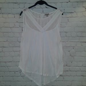 Lucky Brand white crochet sleeveless tops size XL
